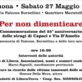 Il 27 maggio iniziativa a Cremona per non dimenticare le vittime della mafia