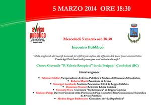 Il programma delle iniziative in Calabria del 5 e 6 marzo 2014